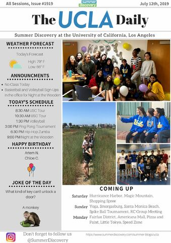 UCLA Daily 7/12/19   Summer Discovery
